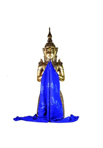 Yogi & Yogini naturals Tibetaanse luxe Katha sjaal blauw XL (240 cm)
