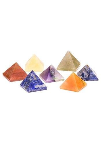 Yogi & Yogini naturals Edelstenen: SET 7 chakra piramide stenen (2x2 cm)