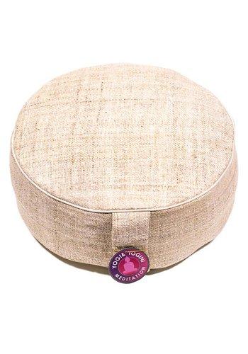 Yogi & Yogini naturals Meditatiekussen hennep naturel met witte randen (33x11 cm)