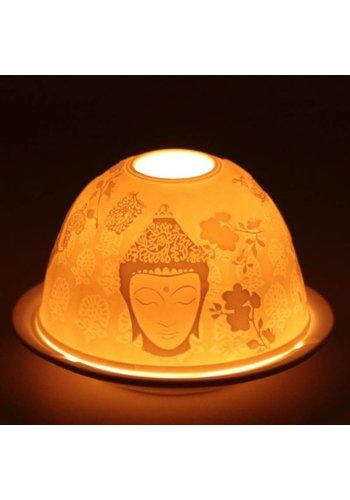 Yogi & Yogini naturals Sfeerlicht porselein Meditatie met 3 afbeeldingen (11x5 cm)