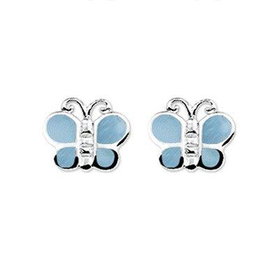 Tomylo Zilveren oorknopjes vilnder blauw 230252