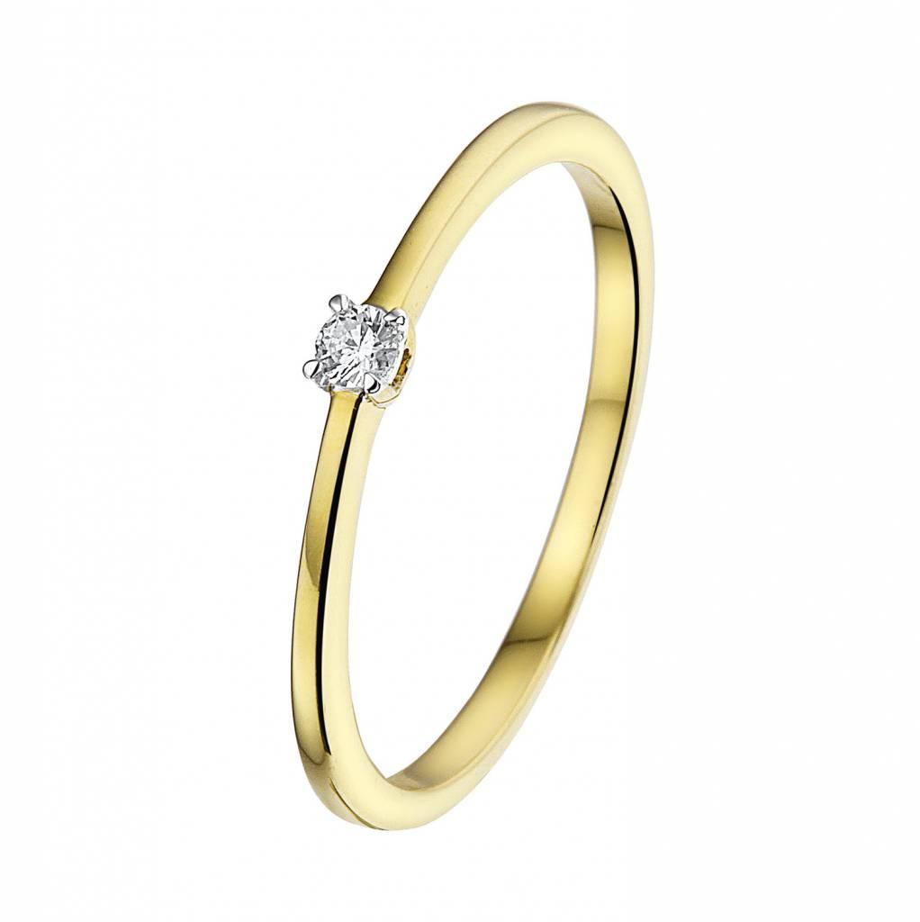 Geelgouden solitairring met diamant