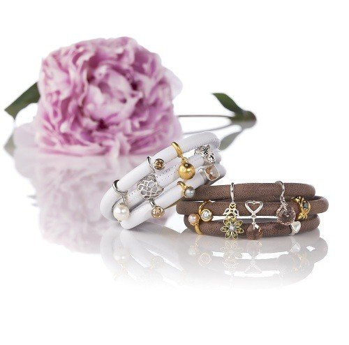 Armband Brown Triple Rose Gold Plated