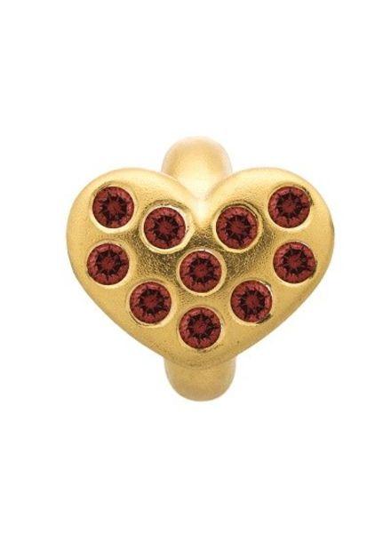 Endless Bedel Garnet Heart of Love Gold Plated