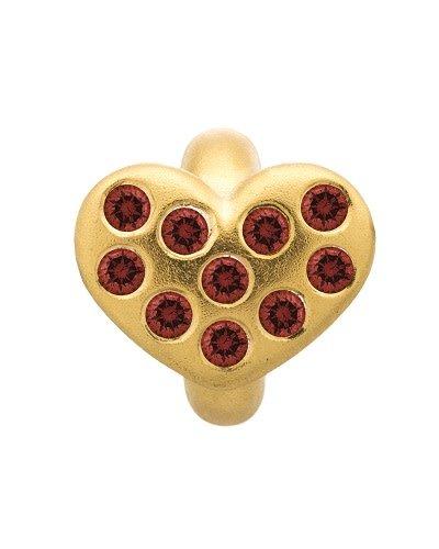 Bedel Garnet Heart of Love Gold Plated