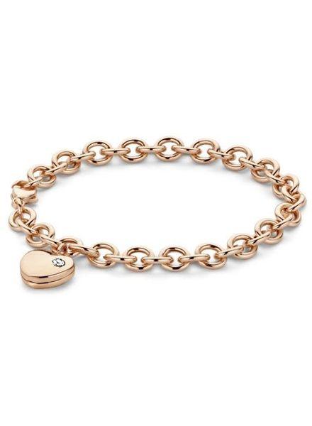 Moments Zilveren armband met rose laag hartje 25284AP