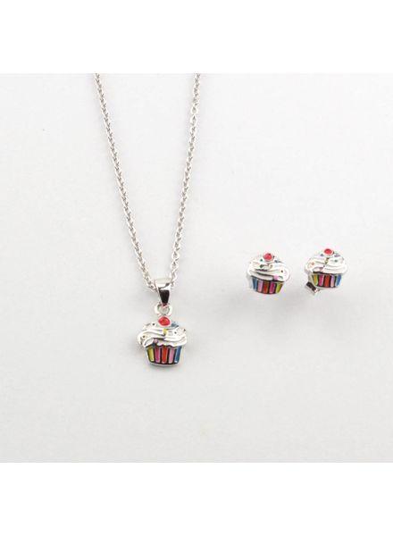 Tomylo Zilveren ketting oorbellen cupcake