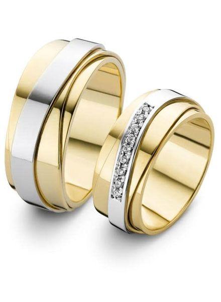 Edeldesign Geel- met Witgouden trouwringen 206