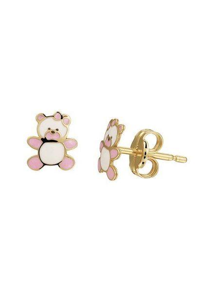 Tomylo gouden oorknoppen roze beer