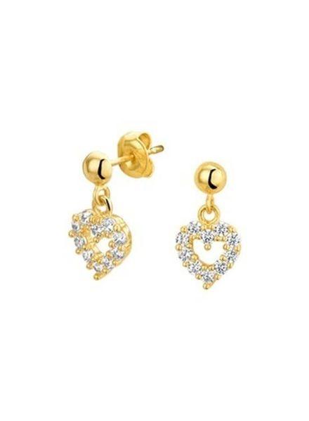 Tomylo gouden oorstekers  hart met zirconia - 4019420