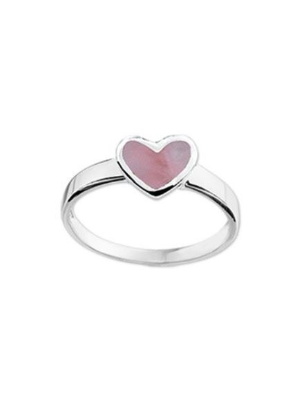 Tomylo Zilveren kinderring hartje roze 1016220 maat 12,5