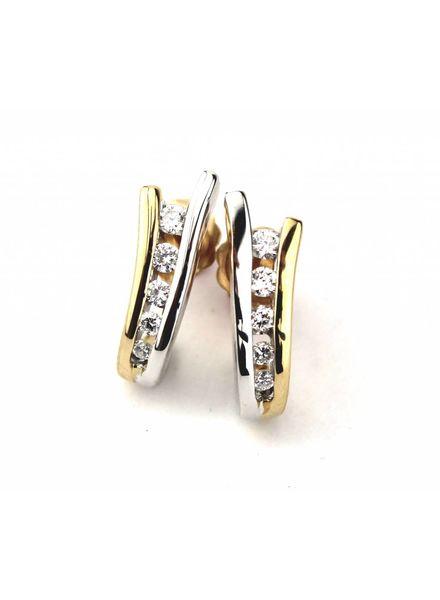 Tomylo Bicolor oorbellen met diamant