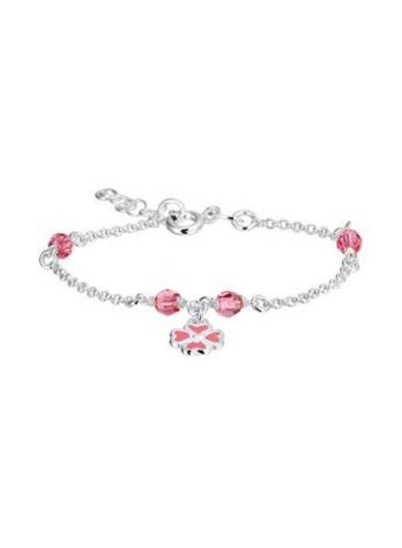 Tomylo zilveren armband met roze bloem 1019619