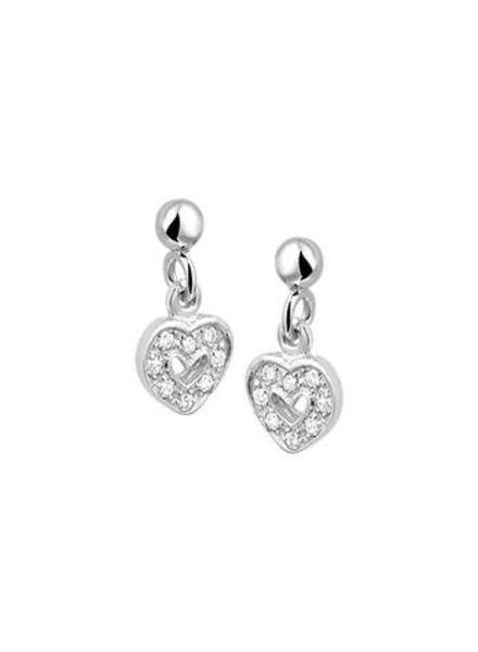 Tomylo zilveren oorhangers met hartjes