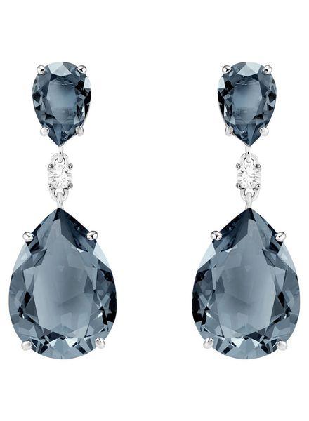 Swarovski Swarovski Vintage Drop Pierced Earrings, Teal, Rhodium plating 5424362