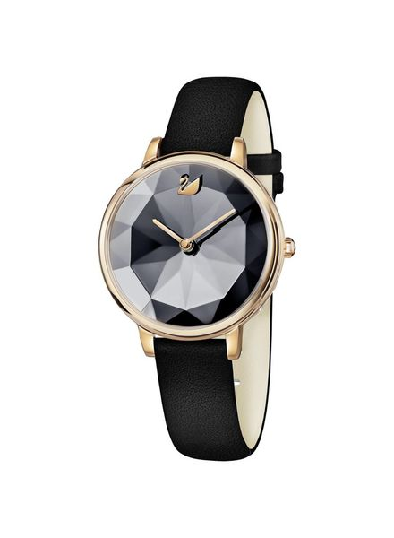 Swarovski Swarovski Crystal Lake Watch, Leather strap, Black, Rose gold tone 5416009