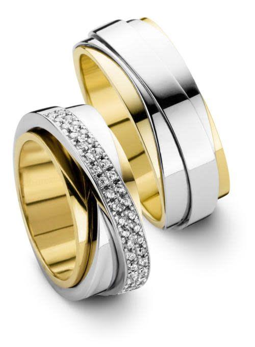 Edeldesign Edeldesign Wit- met geelgouden trouwringen 207