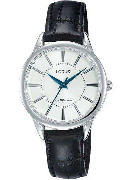 Lorus Horloge DAMES STAAL LEER ZWART 50M WR