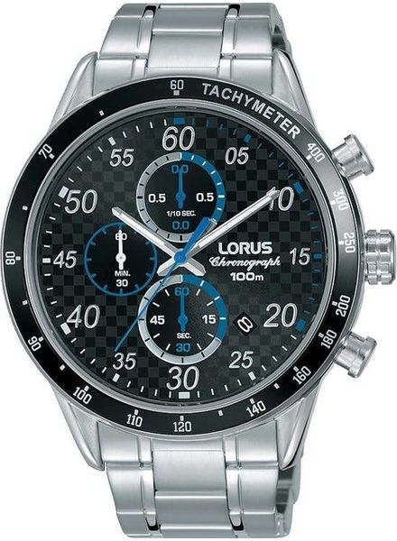 Lorus Horloge HEREN CHRONO STAAL BRACELET ZWART 100M WR