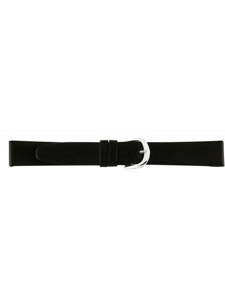 Lederen horlogeband waterafstotend, 20 mm. Zwart