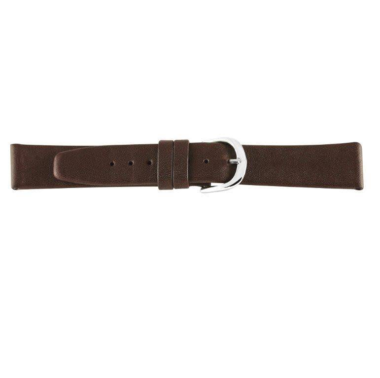 Lederen horlogeband waterafstotend, 16 mm bruin