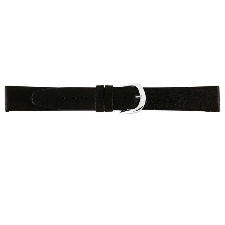Lederen horlogeband waterafstotend, 16 mm zwart.