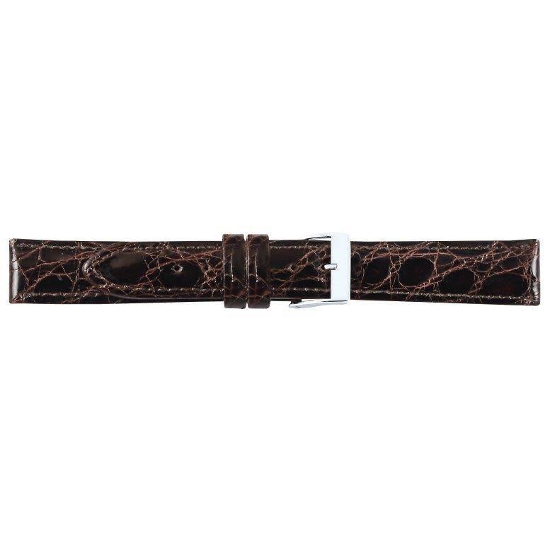 Krokodillen lederen horlogeband, 14 mm bruin