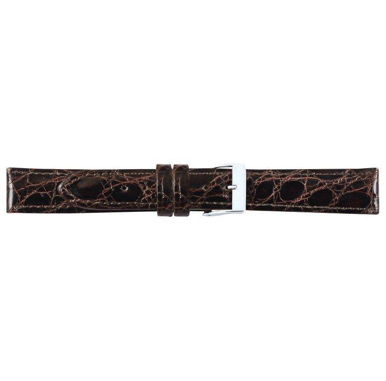 Krokodillen lederen horlogeband, 20 mm bruin