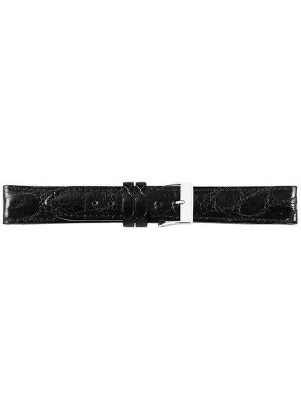 Krokodillen lederen horlogeband, 20 mm zwart