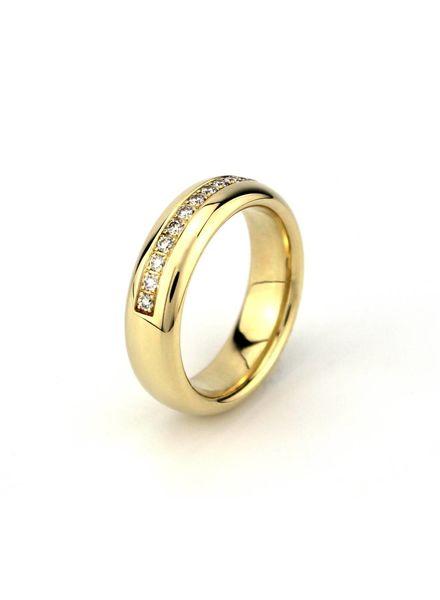 Tomylo Tomylo 14K geelgouden ring met 0.25ct diamant