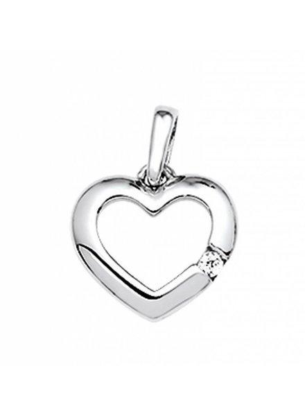 Tomylo Zilveren hanger hartje met zirconia