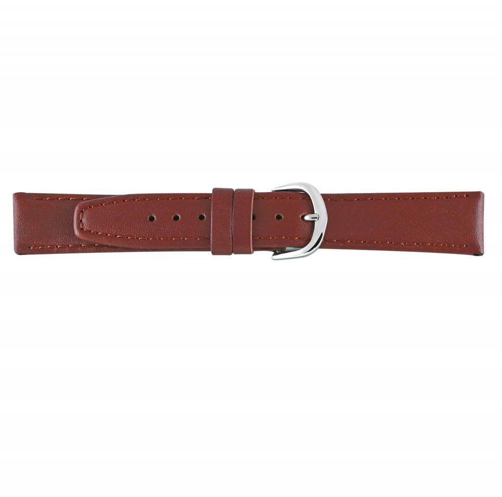 Horlogeband bruin leder 22mm 73222