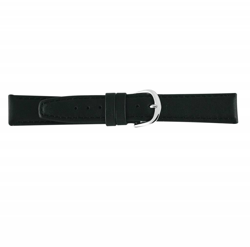 Horlogeband zwart leder 16mm 73116