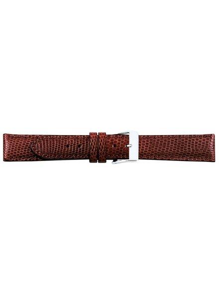 Horlogeband cognac hagedis leder 18mm 07618