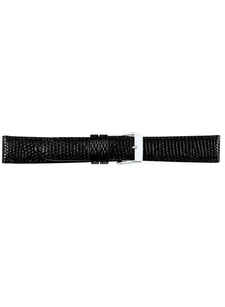 Horlogeband hagedisleder zwart  16mm 07716