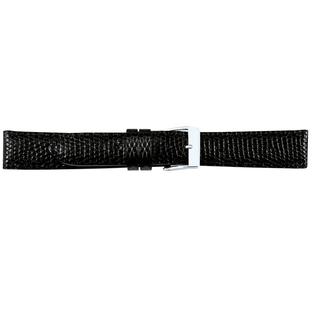 Horlogeband hagedisleder zwart  18mm 07718