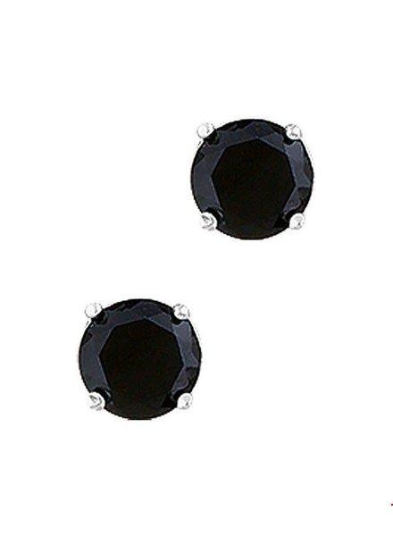 Tomylo Zilveren oorstekers zwarte zirconia 6mm 1010194