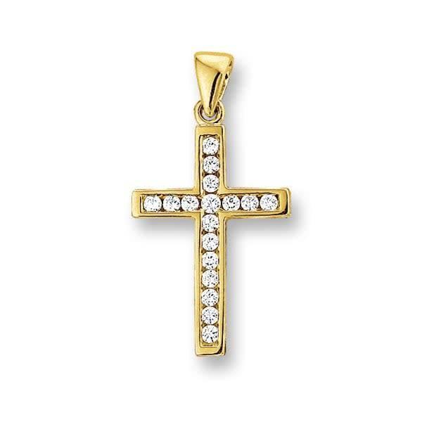 Tomylo Geelgouden kruis hanger zirconia 4009570