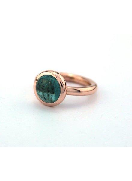 Bregje de Goudsmid Rosegouden ring met blauwe toermalijn