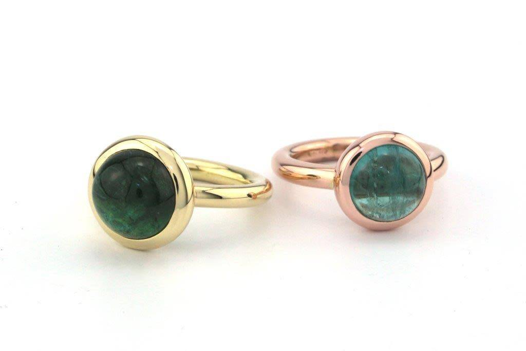 Tomylo Rosegouden ring met blauwe toermalijn