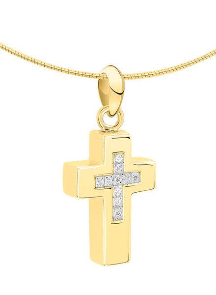 Silent Memories Silent Memories bicolor gouden ashanger kruis 1031B