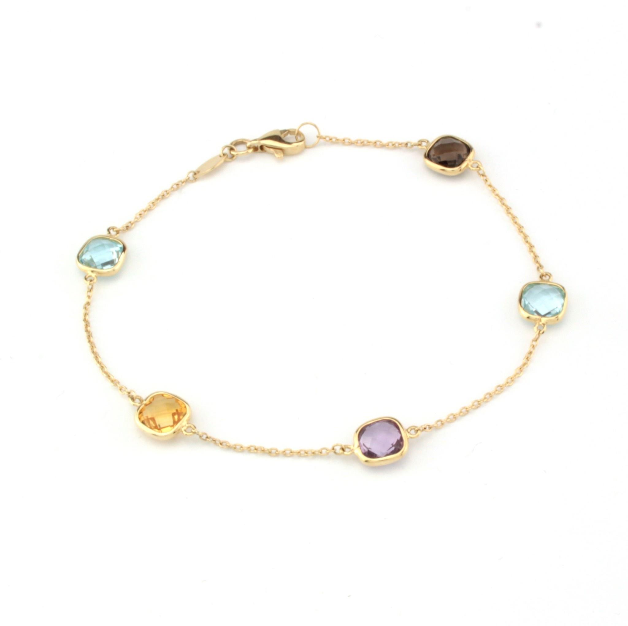 Tomylo Geelgouden armband met kleurstenen