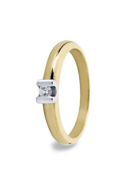 R&C 14 karaat geel/witgouden R&C ring, Camille Small met 0.03 ct.<br /> briljant.Certificaat UF0238.