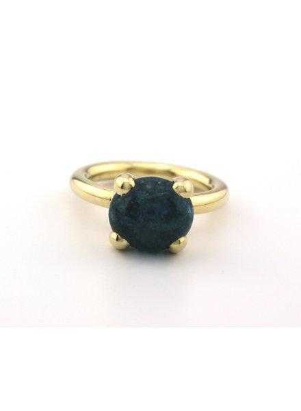 Bregje de Goudsmid Gouden ring met Aquamarijn 55