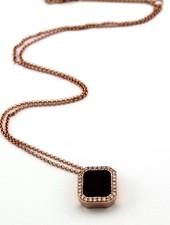 Passione Rosegouden ketting met hanger bezet met emeraude geslepen rookkwarts 2,79ct en 0.18ct briljant HSi