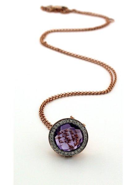 Passione Rosegouden ketting met dome gelspen amethyst 4.00ct en 0.10ct briljant Hsi