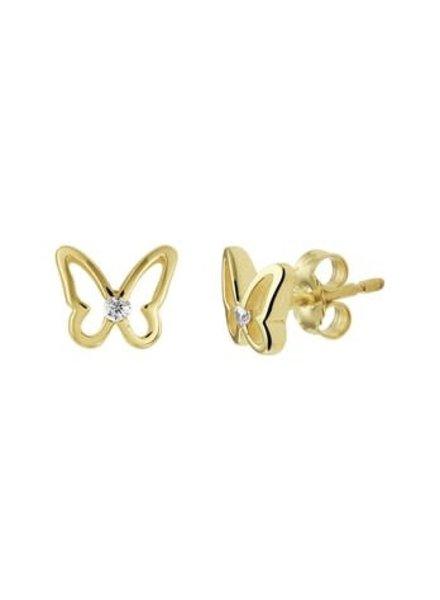 Tomylo Tomylo gouden oorknoppen vlinder