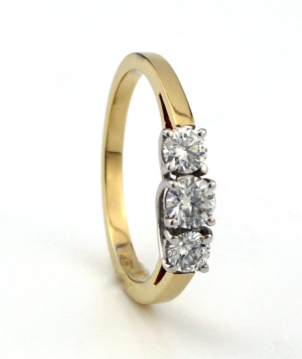 Tomylo 18 kt bicolour gouden Tiffany ring met 1x 0.25 ct en 2x 0.16 ct
