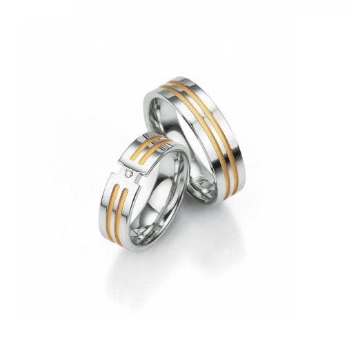 Breuning Breuning, zilveren relatiering, damesring met 0,015 ct. briljant.