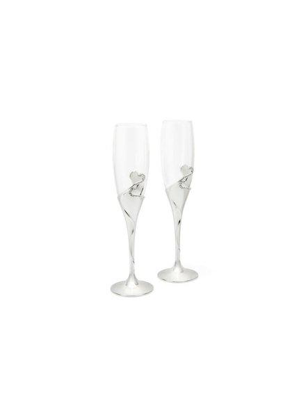 Zilverstad Champagneglazen Hart verzilverd 7526261